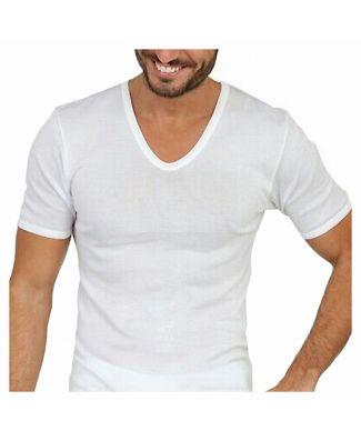 Set 3 Pezzi T - Shirt Uomo Filo di Scozia Leable Art 1472 Scollo a V Made in Italy Tg 8 - 9