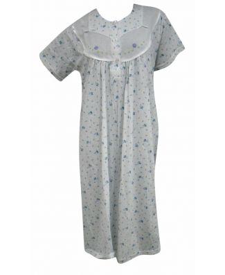 Camicia da Notte Donna Manica Lunga 100% Cotone Fantasie Assortite