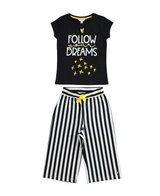 Completo T-Shirt E Pantapalazzo Bambina Cotone Leggero Dodipetto Art. J238