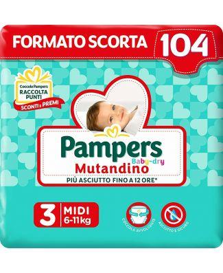 Pampers 104 Pannolini Baby Dry Mutandino Taglia 3