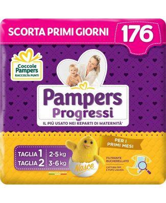 Pampers Progressi 56 Pannolini Taglia 1 (2-5 kg) e 120 Pannolini Taglia 2 (3-6 kg)