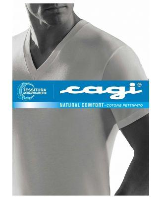 T - Shirt  Uomo Cagi Mezza Manica Scollo V  Art 71305 Taglie Forti 3 Pezzi