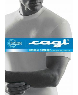 Set 6 T - Shirt Uomo Cagi Manica Corta Art 1306 Bianco Cotone Girocollo Alto