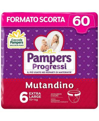 Pampers Progressi Mutandino XL  60 Pannolini  Taglia 6 (15+Kg)