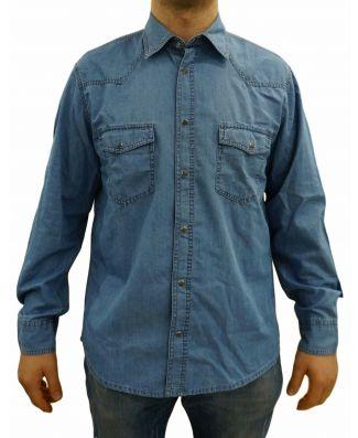 Camicia Uomo Jeans Manica Lunga Sea Barrier Art Piros