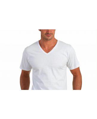 Set 6 Pezzi T-shirt 3001 Uomo Manica Corta Scollo a V Puro Cotone Map Bianco