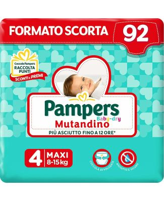 Pampers 92 Pannolini Baby-Dry Mutandino Taglia 4