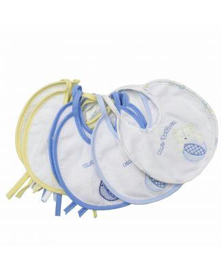 Pastello 6 Bavaglini ricamati forma rotonda con laccetti da Bambina e bambino