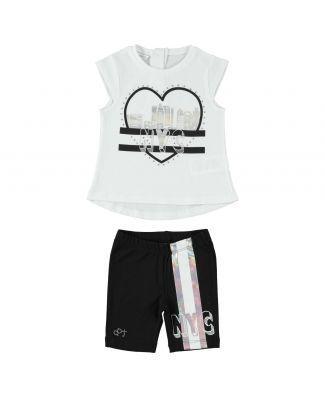 Completo T-Shirt E Pantalone Corto Bambina Cotone Leggero Dodipetto Art. W633