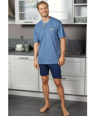 Navigare Pigiama Uomo Manica Corta Pantalone Corto Cotone