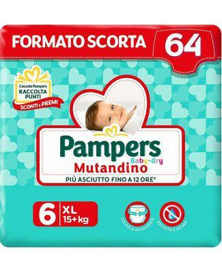 Pampers 64 Pannolini Baby-Dry Mutandino Taglia 6